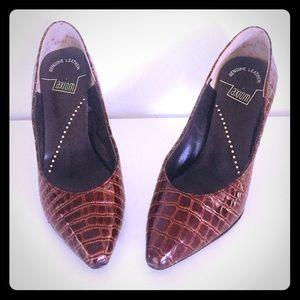 Vintage 80s Crocodile Embossed Leather Heels 7